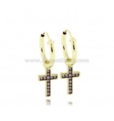 EARRINGS WITH A CIRCLE DIAMETER 10 MM WITH CROSS PENDANT IN SILVER SILVER TIT 925 ‰ AND ZIRCONIA ROSE