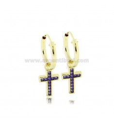 EARRINGS WITH A CIRCLE DIAMETER 10 MM WITH CROSS PENDANT IN GOLDEN SILVER TIT 925 OLA AND ZIRCONIA PURPLE