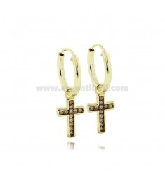EARRINGS WITH A CIRCLE DIAMETER 10 MM WITH CROSS PENDANT IN GOLDEN SILVER TIT 925 AND ZIRCONIA CHAMPAGNE