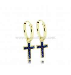 CIRCLE EARRINGS DIAMETER 10 MM WITH CROSS PENDANT IN GOLDEN SILVER TIT 925 ‰ AND BLUE ZIRCONIA