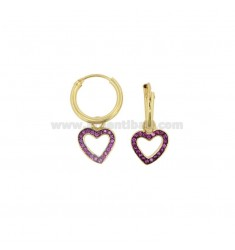 EARRINGS WITH A CIRCLE DIAMETER 10 MM WITH A HEART CONTOUR WITH A PENDANT SILVER SILVER TIT 925 ‰ AND RED ZIRCONIA