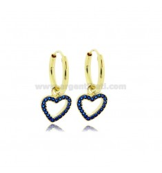 EARRINGS WITH A CIRCLE DIAMETER OF 10 MM WITH A HEART CONTOUR WITH A PENDANT OF SILVER SILVER TIT 925 ‰ AND ZIRCONIA BLUE