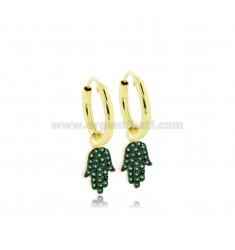 HOOP EARRINGS DIAMETER 10 MM WITH HAND OF FATIMA PENDANT IN SILVER GOLDEN TIT 925 ‰ AND GREEN ZIRCONS
