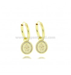CIRCLE EARRINGS DIAMETER 10 MM WITH MIRACULOUS MADONNA PENDANT IN SILVER SILVER TIT 925 ‰ AND ZIRCONIA