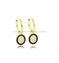 CIRCLE EARRINGS DIAMETER 10 MM WITH MIRACULOUS MADONNA PENDANT IN SILVER SILVER TIT 925 ‰ AND BLACK ZIRCONIA