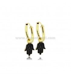 EARRINGS WITH A CIRCLE DIAMETER 10 MM WITH HAND OF FATIMA PENDANT IN GOLDEN SILVER TIT 925 ‰ AND BLACK ZIRCONS