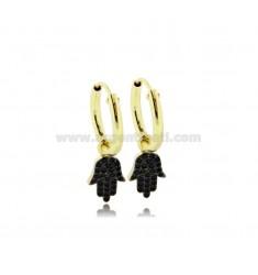 HOOP EARRINGS DIAMETER 10 MM WITH HAND OF FATIMA PENDANT IN SILVER GOLDEN TIT 925 ‰ AND BLACK ZIRCONIA