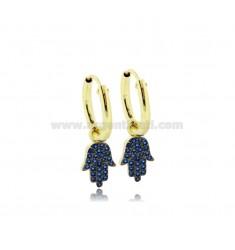 HOOP EARRINGS DIAMETER 10 MM WITH HAND OF FATIMA PENDANT IN SILVER GOLDEN TIT 925 ‰ AND BLUE ZIRCONS