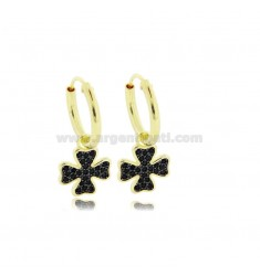 HOOP EARRINGS DIAMETER 10 MM WITH FOUR LEAF CLOVER PENDANT IN SILVER GOLDEN TIT 925 ‰ AND BLACK ZIRCONS