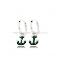 HOOP EARRINGS DIAMETER 10 MM WITH ANCHOR PENDANT IN SILVER RHODIUM TIT 925 ‰ AND GREEN ZIRCONIA