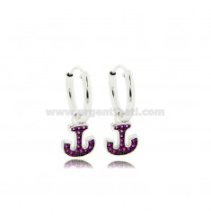 HOOP EARRINGS DIAMETER 10 MM WITH ANCHOR PENDANT IN SILVER RHODIUM-PLATED TIT 925 ‰ AND RED ZIRCONIA