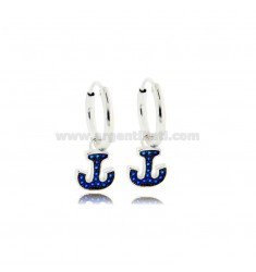 HOOP EARRINGS DIAMETER 10 MM WITH ANCHOR PENDANT IN SILVER RHODIUM-PLATED TIT 925 ‰ AND BLUE ZIRCONS