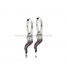 HOOP EARRINGS DIAMETER 10 MM WITH HORN CROWN PENDANT IN SILVER RHODIUM-PLATED TIT 925 ‰ AND PINK ZIRCONIA