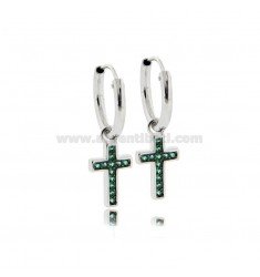 HOOP EARRINGS DIAMETER 10 MM WITH CROSS PENDANT IN SILVER RHODIUM-PLATED TIT 925 ‰ AND GREEN ZIRCONIA