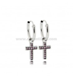 HOOP EARRINGS DIAMETER 10 MM WITH CROSS PENDANT IN SILVER RHODIUM-PLATED TIT 925 ‰ AND PINK ZIRCONIA