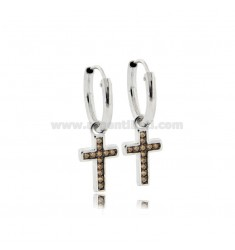 HOOP EARRINGS DIAMETER 10 MM WITH CROSS PENDANT IN SILVER RHODIUM-PLATED TIT 925 ‰ AND CHAMPAGNE ZIRCONIA