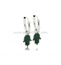 HOOP EARRINGS DIAMETER 10 MM WITH HAND OF FATIMA PENDANT IN SILVER RHODIUM TIT 925 ‰ AND GREEN ZIRCONS