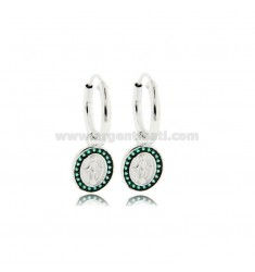 HOOP EARRINGS DIAMETER 10 MM WITH MIRACULOUS MADONNA PENDANT IN RHODIUM-PLATED SILVER TIT 925 ‰ AND GREEN ZIRCONS