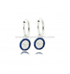 HOOP EARRINGS DIAMETER 10 MM WITH MIRACULOUS MADONNA PENDANT IN RHODIUM-PLATED SILVER TIT 925 ‰ AND BLUE ZIRCONS