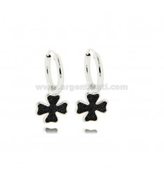 HOOP EARRINGS DIAMETER 10 MM WITH FOUR LEAF CLOVER PENDANT IN SILVER RHODIUM-PLATED TIT 925 ‰ AND BLACK ZIRCONS