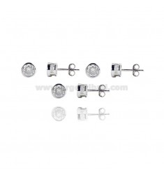 3 PAIRS EARRINGS PUNTO LUCE CIPOLLINA WITH ZIRCONE WHITE 6 MM IN RHODIUM SILVER 925 ‰