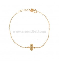 FATIMA HAND CUP BRACELET WITH WHITE ZIRCON ROSE SILVER TIT 925 17 CM 17-20