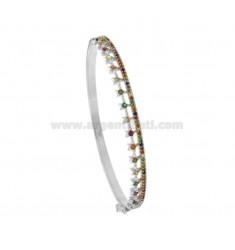BRACCIALE RIGIDO IN ARGENTO RODIATO TIT 925‰ E ZIRCONI MULTICOLOR