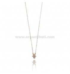 CHAIN CABLE WITH HAND OF FATIMA PENDANT IN SILVER ROSE TIT 925 ‰ AND WHITE ZIRCONIA CM 45-50