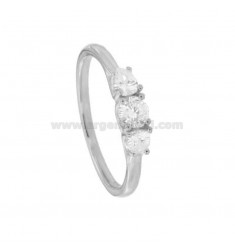 TRILOGY RING IN SILVER RHODIUM TIT 925 ‰ AND ZIRCONIA MM 3.5-4-3.5 SIZE 18