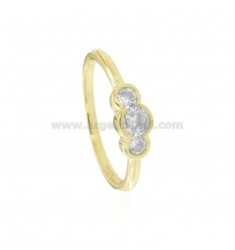 TRILOGY RING CIPOLLINA IN GOLDEN SILVER TIT 925 ‰ AND ZIRCONIA 4-5-4 MM SIZE 14