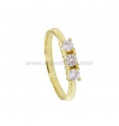 TRILOGY RING IN SILVER SILVER TIT 925 ‰ AND ZIRCONIA MM 3,5 MEASURE 16
