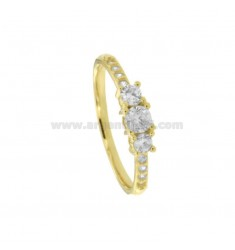 TRILOGY RING IN GOLDEN SILVER TIT 925 ‰ AND ZIRCONIA MM 4 SIZE 18