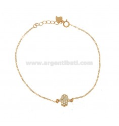 BRACELET FORZATINA WITH HAND OF FATIMA PENDANT IN SILVER ROSE TIT 925 ‰ AND WHITE ZIRCONIA CM 17-20