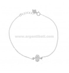 BRACELET FORZATINA WITH HAND OF FATIMA PENDANT IN SILVER RHODIUM TIT 925 ‰ AND WHITE ZIRCONIA CM 17-20