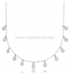CABLE NECKLACE WITH WHITE ZIRCONIA PENDANTS IN SILVER RHODIUM TIT 925 925 CM 42-45