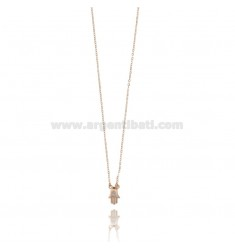 FATIMA HAND NECKLACE NECKLACE WITH WHITE ZIRCON ROSE SILVER TIT 925 ‰ CM 40-45