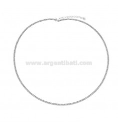 COLLIER RIGID TENNIS MIT ZIRKONIA IN SILBEREM RHODIUM TIT 925 ‰