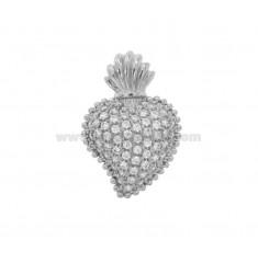 PENDANT HEART EX VOTO 24X16 MM SILVER RHODIUM TIT 925 AND ZIRCONIA