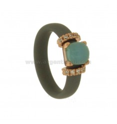 RUBBER RING IN SILVER WITH APPLICATION IN ROSE GOLD PLATED TIT 925 ‰, ZIRCONIA AND HYDROTHERMAL STONES ASSORTED COLORS