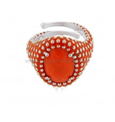 OVAL RING WITH MICROSPHERES IN SILVER RHODIUM TIT 925 AND ENAMEL AND HYDROTHERMAL ORANGE STONE ADJUSTABLE SIZE