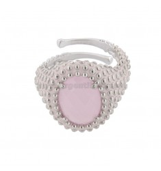 OVAL RING WITH MICROSFERE IN SILVER RHODIUM TIT 925 AND ENAMEL AND PINK HYDROTHERMAL STONE ADJUSTABLE SIZE