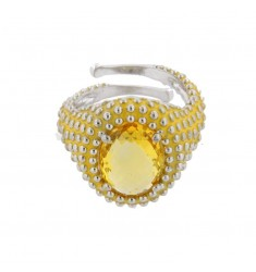 OVAL RING WITH MICROSFERE IN SILVER RHODIUM TIT 925 AND ENAMEL AND YELLOW HYDROTHERMAL STONE ADJUSTABLE SIZE