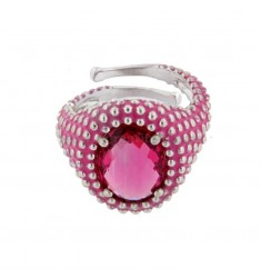 OVAL RING WITH MICROSFERE IN SILVER RHODIUM TIT 925 AND ENAMEL AND HYDROTHERMAL STONE FUCSIA ADJUSTABLE SIZE