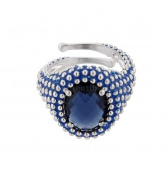 OVAL RING WITH MICROSFERE IN SILVER RHODIUM TIT 925 AND ENAMEL AND BLUE HYDROTHERMAL STONE ADJUSTABLE SIZE