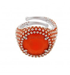 ROUND RING WITH MICROSFERE IN SILVER RHODIUM TIT 925 AND ENAMEL AND HYDROTHERMAL STONE ORANGE ADJUSTABLE SIZE