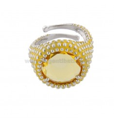 ROUND RING WITH MICROSFERE IN SILVER RHODIUM TIT 925 AND ENAMEL AND YELLOW HYDROTHERMAL STONE ADJUSTABLE SIZE