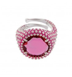 ROUND RING WITH MICROSFERE IN SILVER RHODIUM TIT 925 AND ENAMEL AND HYDROTHERMAL STONE FUCSIA ADJUSTABLE SIZE