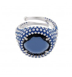 ROUND RING WITH MICROSFERE IN SILVER RHODIUM TIT 925 AND ENAMEL AND BLUE HYDROTHERMAL STONE ADJUSTABLE SIZE