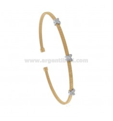 RIGID BRACELET WITH THREAD WITH 3 BUTTERFLIES IN SILVER RHODIUM AND ROSE TIT 925 AND ZIRCONIA