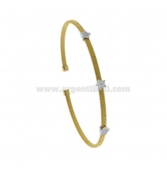 RIGID BRACELET WIRE WITH 3 STARS IN RHODIUM SILVER AND GOLDEN TIT 925 AND ZIRCONIA